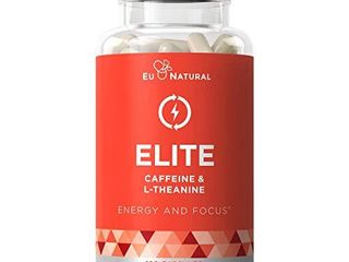 Elite Caffeine with l Theanine Jitter Free Focused Energy Pills Natural Nootropic Stack for Smart Cognitive Performance 120 Soft Capsules