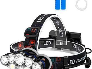 Rechargeable Headlamp  Foxdott 8 lED Headlamp Flashlight with White Red lights 8 Modes USB Rechargeable Waterproof Head lamp for Outdoor Camping Cycling Running Fishing  Head lamps for Adults