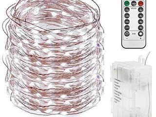 Twinkle Star 300 lED 99 FT Copper Wire String lights Battery Operated 8 Modes with Remote  Fairy String lights for Indoor Outdoor Home Wedding Party Decoration  White