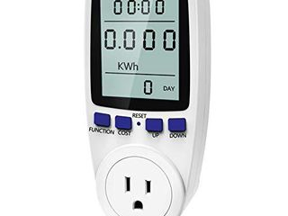 Kuman Electricity Usage Monitor Plug Power Meter Energy Watt Voltage Amps Meter with Digital lCD Display Overload Protection and 7 Display Modes for Energy Saving  NO Backlight