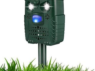 Ultrasonic Dog Repellent  Waterproof Dog Bark Control with Flashing lights  Solar Powered Repellent with USB Cable for Dogs  Cats  Birds and More