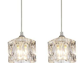 COTUlIN Set of 2 Modern Cute Mini Crystal Pendant light Pendant lighting Fixture for Kitchen Island living Room Dining Room Bedroom Brushed Nickel Finish with Crystal Glass Shade