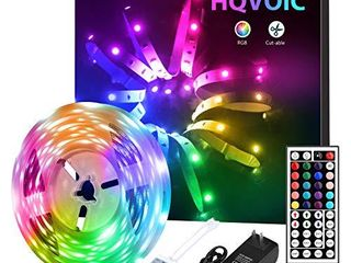 HQVOIC lED Strip lights 16 4ft Tape lights Color Changing 5050 RGB lEDs light Strips Kit with Remote for Home lighting Kitchen Bed Flexible Rope lights for Bedroom Home Decoration