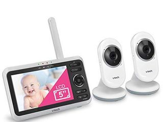 VTech VM350 2 5  Video Baby Monitor with 5  Screen  long Range  Invision Infrared Night Vision  2 Cameras  Multiple Viewing Options  Two Way Talk  Auto On Screen  Monitor with 2 Camera