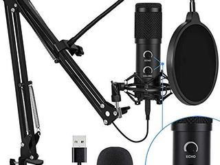 2021 Upgraded USB Condenser Microphone for Computer  Great for Gaming  Podcast  liveStreaming  YouTube Recording  Karaoke on PC  Plug   Play  with Adjustable Metal Arm Stand  Ideal for Gift  Black