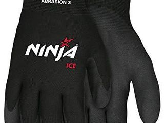 Memphis Glove N9690l Ninja Ice 15 Gauge Black Nylon Cold Weather Glove  Acrylic Terry Inner  HPT Palm and Fingertips  large  1 Pair