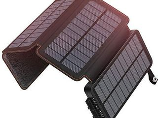 Solar Charger 25000mAh ADDTOP Rainproof Power Bank with 4 Solar Panels Portable Battery Pack for iPhone  Samsung  Tablets and Smartphone