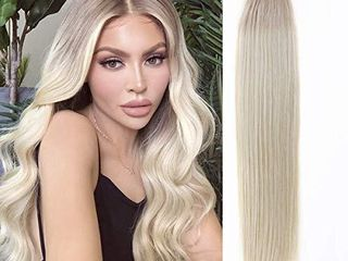 Anrosa Tape in Hair Extensions Skin Weft Seamless Human Hair Extensions Silky Straight Remy Real Hair Ombre Dark Golden Brown Fading to Platinum Blonde Rooted 12 60 16 Inch 50G