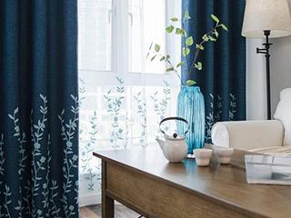 Melodieux Flower Curtain Navy Blue