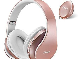 Bluetooth Headphones Over Ear  Zihnic Foldable Wireless and Wired Stereo Headset Micro SD TF  FM for Cell Phone PC Soft Earmuffs  light Weight for Prolonged Waring Rose Gold