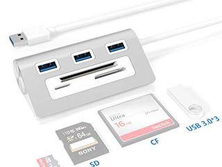USB 3 0 Hub Adapter  Rytaki Bus Powered USB 3 0 3 Port Aluminum Hub with SD TF CF Card Reader Combo for iMac  MacBook Air  MacBook Pro  MacBook  Mac Mini  PCs and laptops