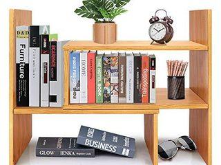 Desktop Bookshelf Adjustable Bamboo Display Shelf Bookcase Office Supplies Desk Organizer Storage Rack   Birthday Gifts   Toy   Home Decor   Natural Bamboo Stand Shelf