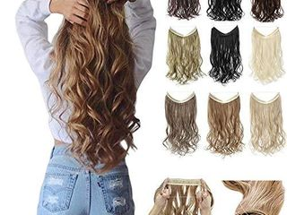 Synthetic Hair Extensions 18 22 Inches Curly Straight Full Head Invisible Wire Secret No Clips in Hair Wig Secret Fish line Hairpieces