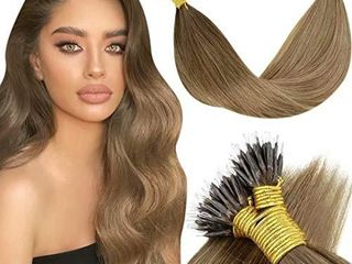 20 Inch Nano Extensions Human Hair laaVoo Natural Real Hair Extensions Nano Ring Mediunm Brown Fading to light Brown with Darkest Blonde Balayage Micro link Hair Extensions Nano 50g 50strands