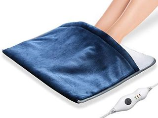Electric Foot Warmer with Adjustable Temperature  Auto Off Soft Flannel Heating Pad for leg Feet Shoulder Back  Fast Heating 21  x 20  Blue