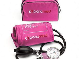 PARAMED Aneroid Sphygmomanometer Manual Blood Pressure Cuff with Universal Cuff 8 7   16 5  and D Ring Carrying Case in The kit Pink Stethoscope Not Included