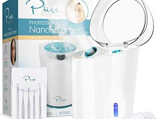 NanoSteamer PRO Professional 4 in 1 Nano Ionic Facial Steamer for Spas   30 Min Steam Time   Humidifier   Unclogs Pores   Blackheads   Spa Quality   5 Piece Stainless Steel Skin Kit Included