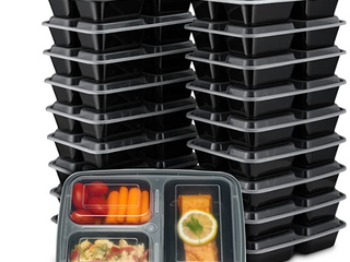 Ez Prepa  20 Pack  32oz 3 Compartment Meal Prep Containers With lids   Bento Box