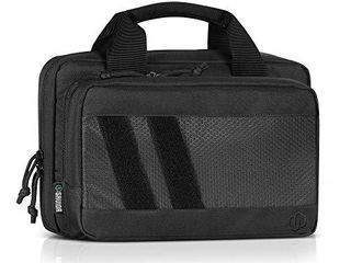 Savior Equipment Specialist Series Tactical Double Scoped Handgun Firearm Case Discreet Pistol Bag for Outdoor Hunting Shooting Range  lockable Compartment  Additional Magazine Storage Slots
