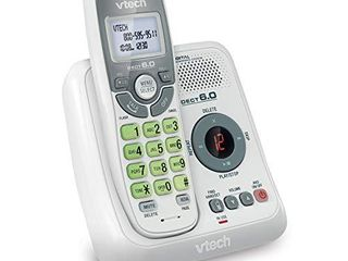 VTech CS6124 DECT 6 0 Cordless Phone with Answering System and Caller ID Call Waiting  White with 1 Handset
