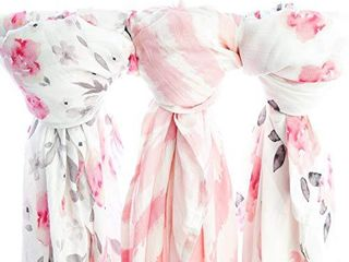 Muslin Swaddle Blankets  3 Pack large 47x47in Baby Blanket  Petal