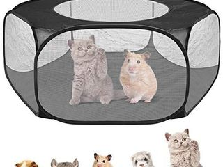 Petyoung Upgraded Small Animals Cage Tent with Top Cover Breathable   Foldable Pet Playpen Pop Open Outdoor Indoor Exercise Fence for Guinea Pig Rabbits Chinchillas