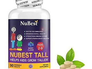 NuBest Tall Kids   Supports Healthy Growth in Kids from 2 to 9 Years Old with Multivitamins and Multi Minerals   Berry Flavor   Helps Kids Grow   90 Chewable Tablets