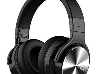 COWIN E7 PRO  Upgraded  Active Noise Cancelling Headphones Bluetooth Headphones with Microphone Deep Bass Wireless Headphones Over Ear 30H Playtime for Travel Work TV Computer Cellphone   Black