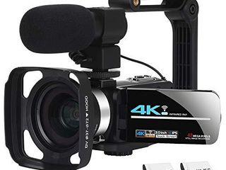 Video Camera Camcorder WiFi Camera 4K Ultra HD Facebook live Streaming Webcam Recorder Digital YouTube Vlogging Camera Video Recorder Handheld Stabilizer Remote Control  16X Digital Zoom  2 Batteries