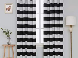 Deconovo Navy Blue Striped Blackout Curtains Grommet Nautical Navy and Greyish White Striped Curtains for Kids Room 52W X 84l Navy Blue