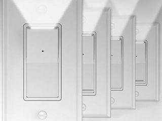 4 Pack Illuminated light Switch  Decora Paddle Rocker light Switch with lED Night light  Automatic On Off Sensor  Single Pole  15Amp 120 277Volt  White