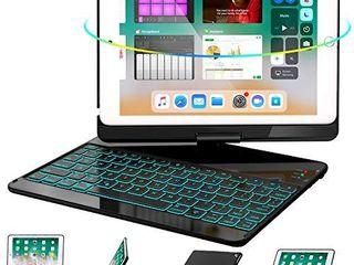 iPad Keyboard Case 9 7 for iPad 6th Gen 2018   iPad 5th Gen 2017   iPad Pro 9 7   Air 2  Air 1  360 Rotate 7 Color Backlit Wireless iPad 9 7 inch Case with Keyboard  Auto Sleep Wake Black