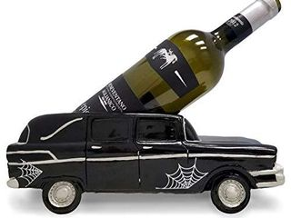 DWK   Monster Machine   Creepy Vintage Hearse Gothic Tabletop Wine Holder Bottle Display Caddy landau Bars   Spider Webs for Halloween Home DAccor Kitchen Dining Accent  12 inch