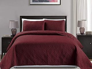 Mk Collection 3pc King California King Over Size 118 x 106  Diamond Bedspread Bed Cover Embossed Solid Burgundy New  Diamond Burgundy