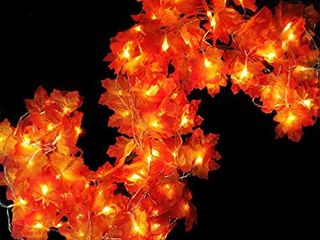 iGeeKid Maple leaves lighted Fall Garland 40lED 16 4FT String lights Battery Operated Fall Halloween Thanksgivings Autumns Decorations for Home Party Indoor Outdoor  Warm White