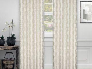 Impressions Sandor Damask Jacquard Curtains Set of 2 with Grommet Header