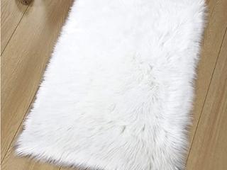 long White Faux Fur Rug
