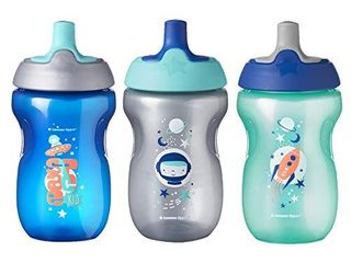 Tommee Tippee Sippy Toddler Sportee Bottle  Boy   12  months  10 Ounce  Pack of 3  Blue