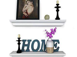 White Floating Shelves Crown Molding Wall Shelves Set of 2   Suitable for living Room  Bedroom Or Bathroom 17 Inch