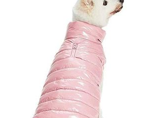 Blueberry Pet Cozy   Comfy Windproof lightweight Quilted Fall Winter Dog Puffer Jacket in Pink  Back length 22 5  Size 20  Warm Coat for large Dogs