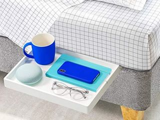 BedShelfie The Original Bedside Shelf for Bed and Bunk Bed Shelf 4 Colors   4 Styles As Seen On Business Insider and Real Simple  Slide Style  Bamboo in White