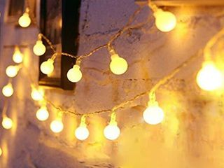 YoTelim Globe String lights Battery Operated Warm White Water Proof 2 Pack 19 7FT 40 lED Globe Fairy String light 8 Modes with Remote Control  for Home  Party  Christmas  Wedding  Garden Decoration