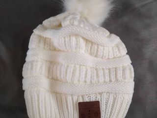 Knitted Music Hat With Faux Ball