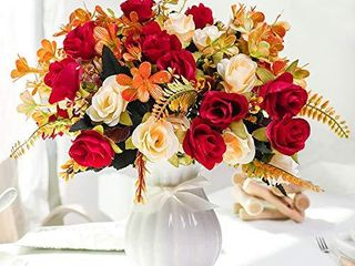 lESING Artificial Fake Flowers with Vase Silk Artificial Roses Wedding Flowers Bouquets Home Office Party Meeting Room Decoration  Red 1