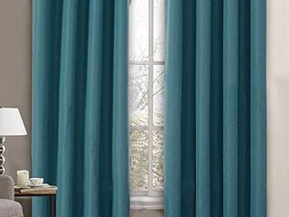 linen Blackout Curtain 84 Inches long for Bedroom   living Room Thermal Insulated Grommet linen look Curtain Drapes Primitive Textured Burlab Effect Window Drapes 1 Panel   Aegean Blue
