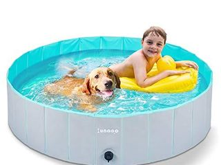 lunaoo Foldable Dog Pool   Portable Kiddie Pool for Kids  PVC Bathing Tub  Outdoor Swimming Pool for large Small Dogs