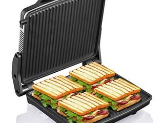 Panini Press Grill  Yabano Gourmet Sandwich Maker Non Stick Coated Plates 11  x 9 8  Opens 180 Degrees to Fit Any Type or Size of Food  Stainless Steel Surface and Removable Drip Tray  4 Slice