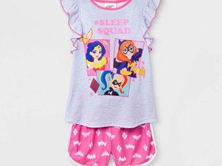 Girls  DC Super Hero Girls 2pc Pajama Set   Gray Pink l