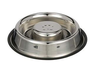 NEATER PET BRANDS Slow Feed Bowl Stainless Steel Metal  Non Tip Style    Stops Dog Food Gulping  Bloat and Rapid Eating  large  Non Tip Base