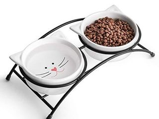 Y YHY Raised Cat Food Bowls Pet Bowls with Stand Ceramic Cat Dog Bowls Elevated Cute Cat Dishes 12 Ounces Dishwasher Safe